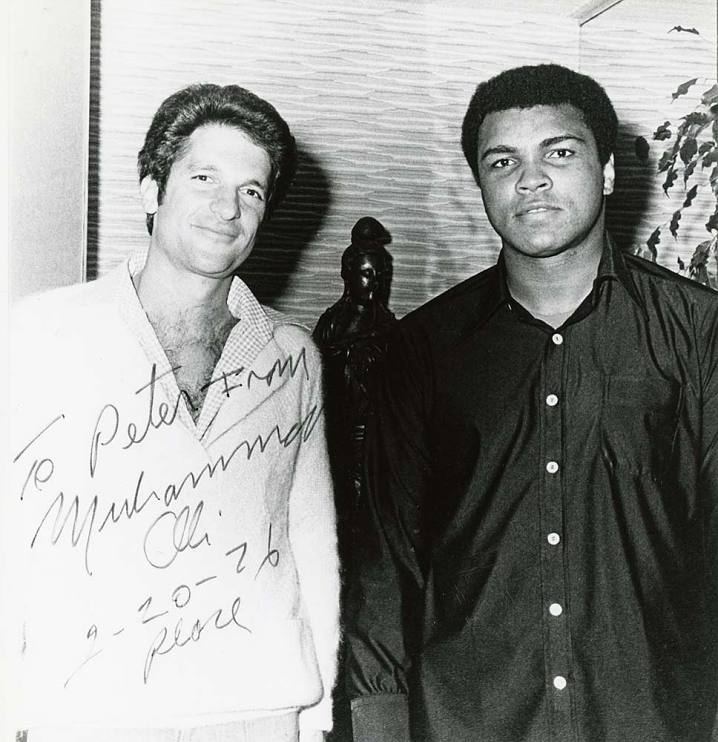 Peter Guber (president of Sony Pictures) and Muhammad Ali on set of Ali's first movie