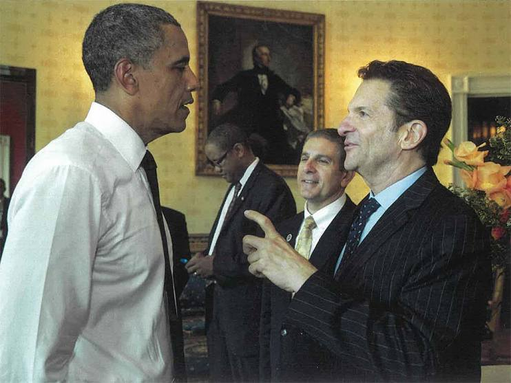 Peter Guber and Barack Obama at the Vin Scully Presidential Medal of Freedom ceremony in the White House