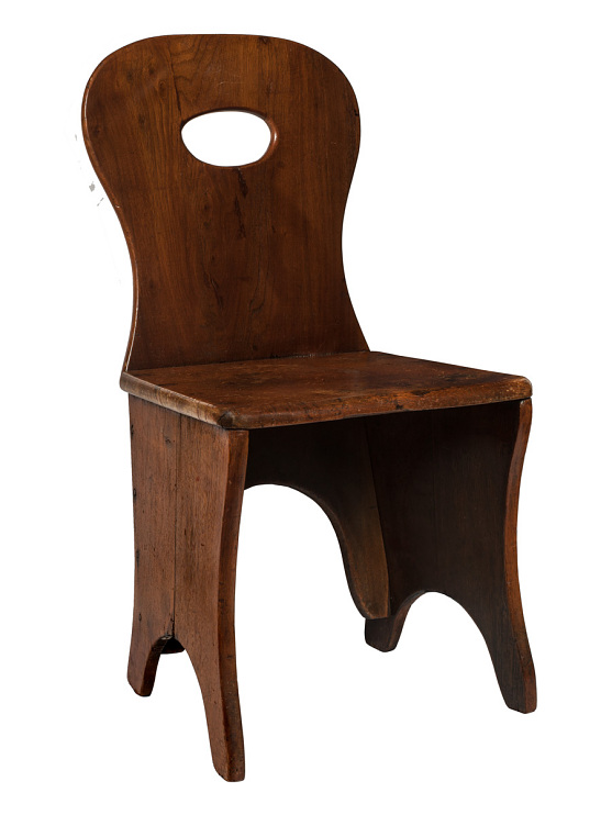 Dining chair made by Icarians, used in the Icarian dining hall, around 1850