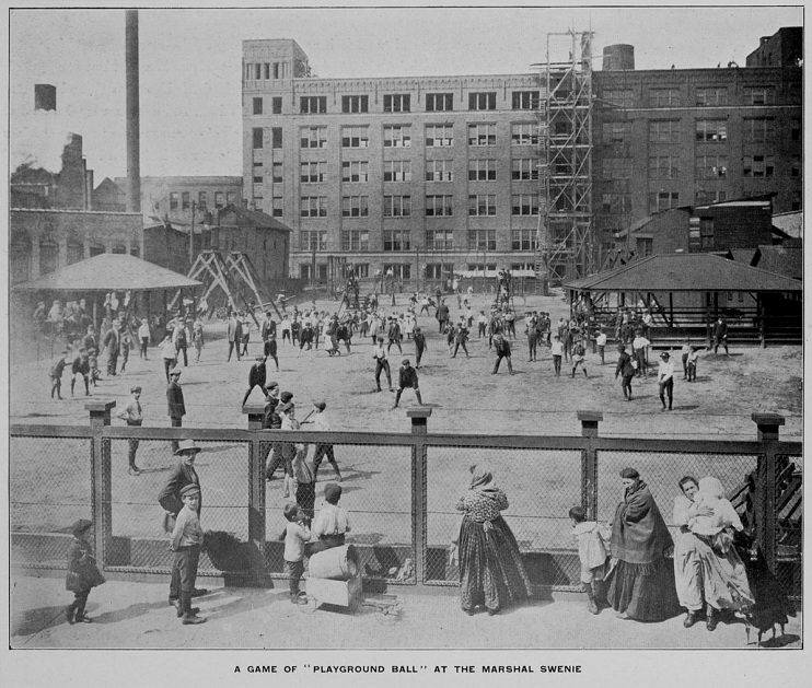 """""""Playground Ball"""" at Marshal Swenie Playground in the Near West Side neighborhood, 1907"""