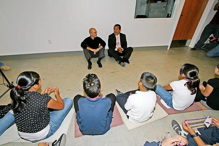 Katzenberg speaking to students from the DreamWorks Animation Academy program
