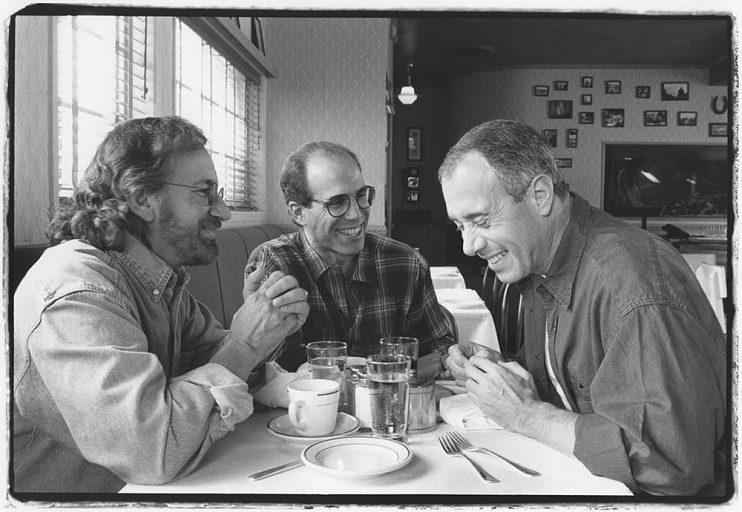 Left to right, Steven Spielberg, Katzenberg, and David Geffen at the Hollywood Canteen Restaurant in 1995, just months after the launch of DreamWorks