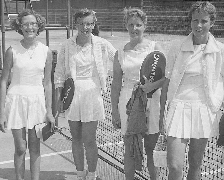 At the Lakewood Country Club in Lakewood, California, 1959. King and Karen Hantze (far right) won the Wimbledon doubles title in 1961 and are still the youngest doubles team in the history of Wimbledon.