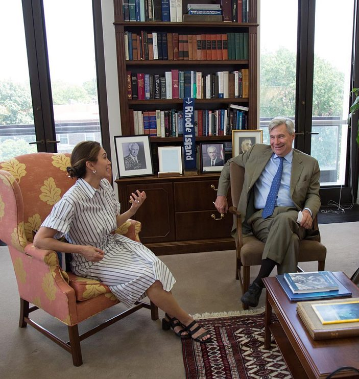 Diane Lane and U.S. Senator Sheldon Whitehouse (D-Rhode Island), July 2018