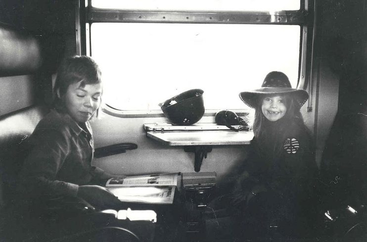 European train with Justus van Oel on tour with La MaMa, 1972