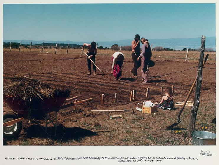 Planting the first garden at the Law Farm in Truchas, New Mexico, spring 1970