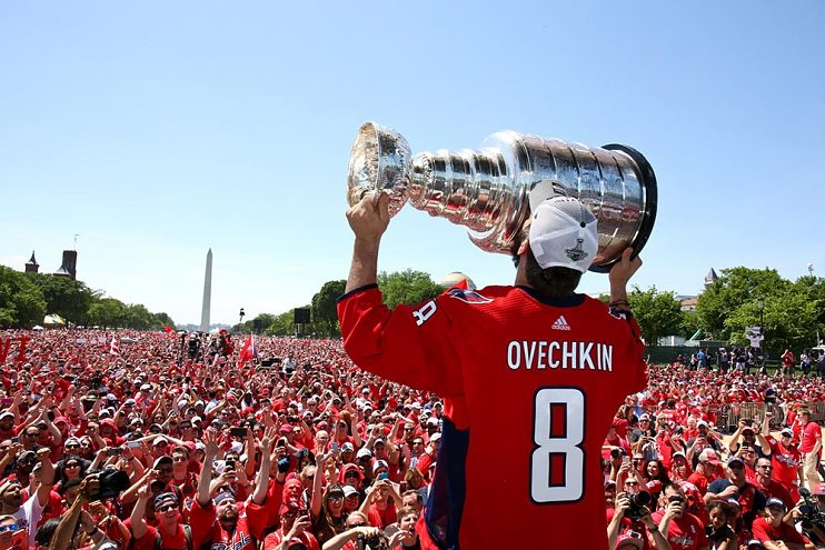 Capitals player Alexander Ovechkin with the Stanley Cup, 2018