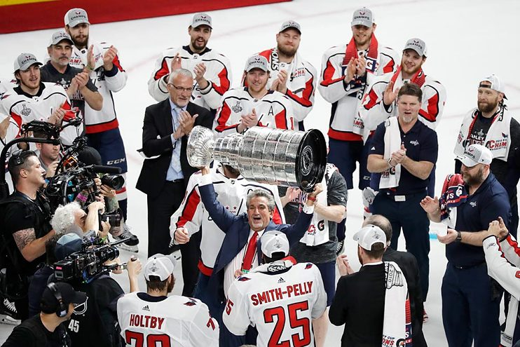Leonsis with the Stanley Cup and Washington Capitals, 2018