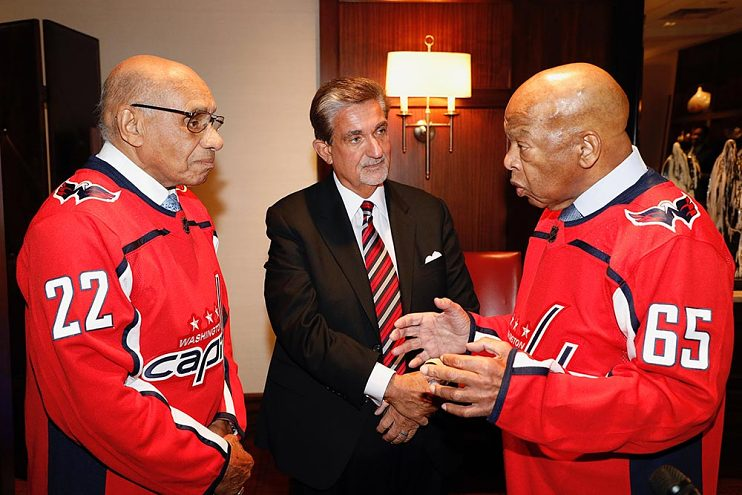 Leonsis with Willie O'Ree (left), the first black player in the national Hockey League, and Congressman John Lewis, 2018
