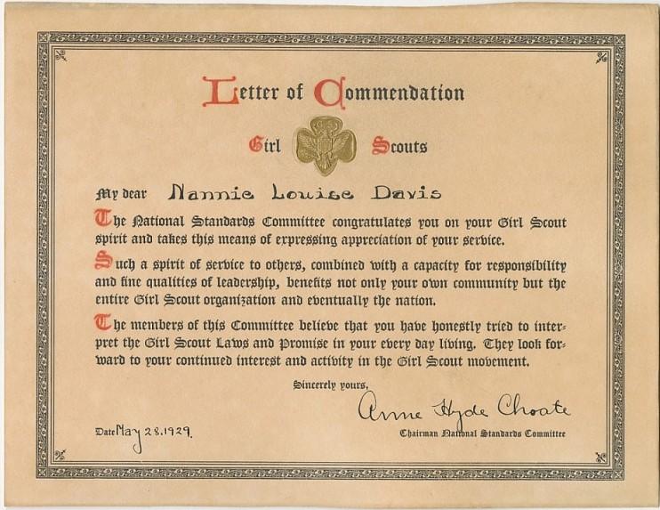 Commendation to Louise Davis, 1930