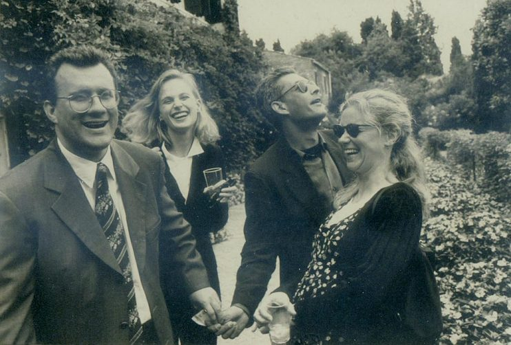 Left to right, David Linde, novelist Siri Hustvedt, writer and director Paul Auster, and former head of Miramax Trea Hoving at the 53rd Venice International Film Festival in 1996.