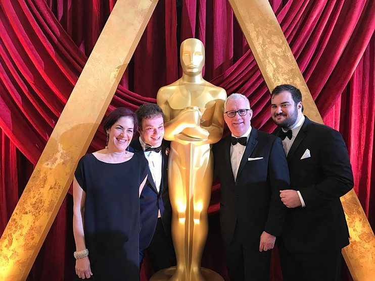 David Linde with wife Felicia Rosenfeld and sons Jess (left center) and Adam (far right) at the 89th Annual Academy Awards in Hollywood, California, February 26, 2017