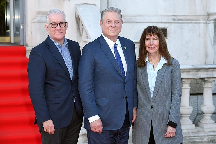 David Linde, Vice President Al Gore, and Diane Weyermann, Chief Content Officer for Participant, at a screening of An Inconvenient Sequel: Truth to Power in London on August 10, 2017.