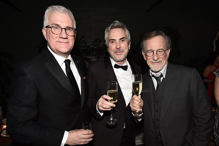 Left to right, David Linde, Alfonso Cuarón, and Steven Spielberg at the Participant Oscar party in Los Angeles on February 24, 2019