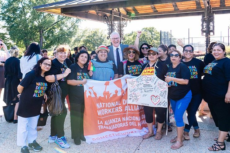 David Linde with advocates from the National Domestic Workers Alliance in Washington, D.C., July 15, 2019