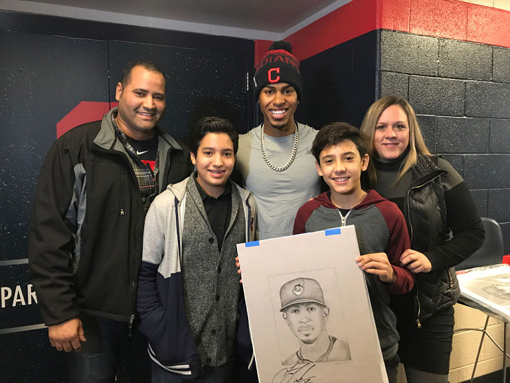 Francisco Lindor with Nicholas Mariani and family, 2018
