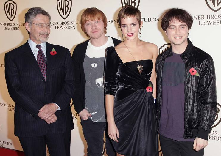Barry Meyer, Rupert Grint, Emma Watson, and Daniel Radcliffe at Warner Bros. Studios
