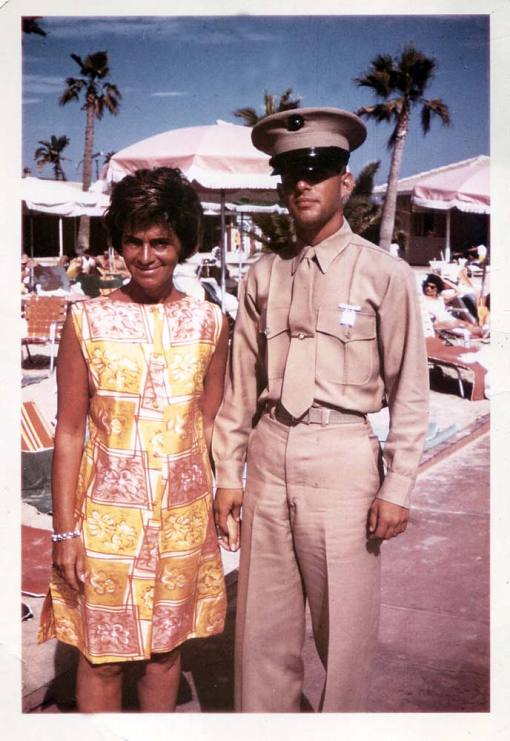 Ron Meyer, then 17, with his mother, Edith, in 1962, shortly after he completed Marine boot camp
