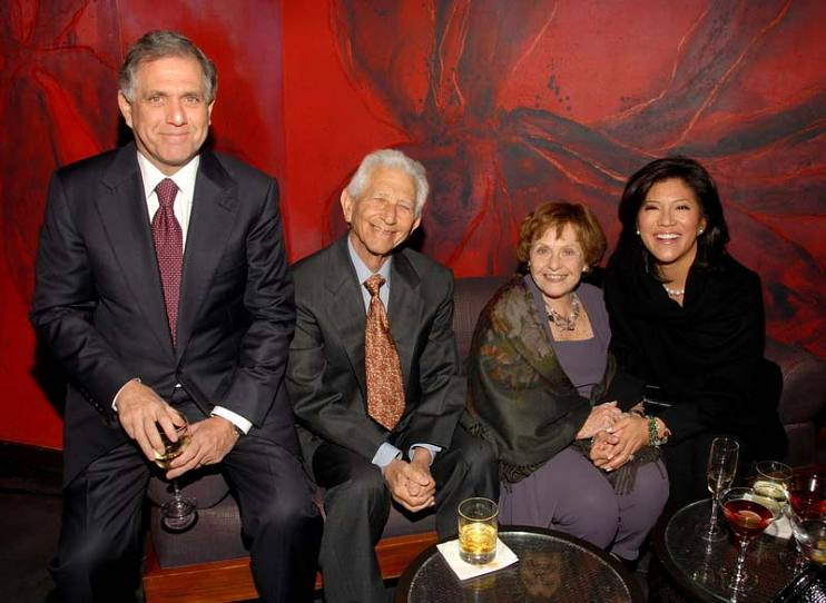Leslie Moonves with parents, Herman Moonves and Jo Moonves, and wife, Julie Chen, attending the cocktail reception for the seventh annual Backstage at the Geffen gala at the W Hotel on March 9, 2009, in Los Angeles, California