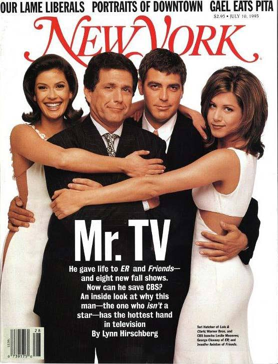 "Leslie Moonves (second from left) on the cover of New York magazine, July 10, 1995, for a cover story touting the chairman of the board, president, and chief executive officer of CBS Corporation as ""Mr. TV."""
