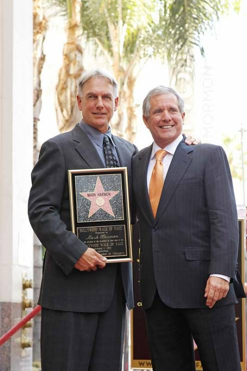 Mark Harmon receiving his star on the Hollywood Walk of Fame, with Leslie Moonves (right)