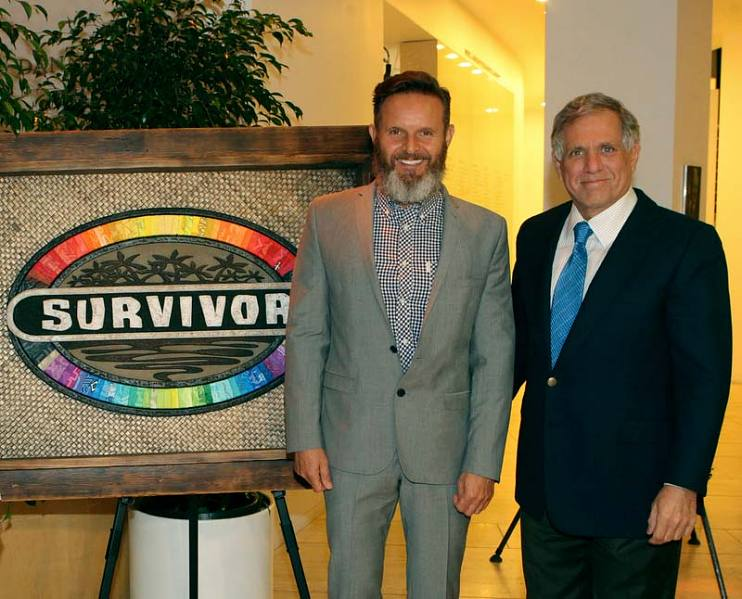 Mark Burnett and Leslie Moonves (right) at The Survivor Anniversary Photo Exhibit at The Paley Center for Media