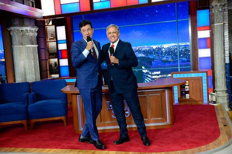 Stephen Colbert and CBS CEO Leslie Moonves (right) celebrate after completing the first episode of The Late Show with Stephen Colbert on September 8, 2015