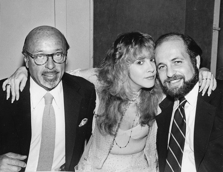Left to right, Ahmet Ertegun, Stevie Nicks, and Doug Morris in 1981