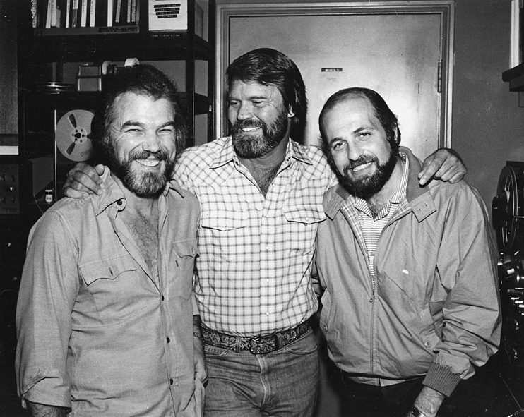 Left to right, producer Jerry Fuller, Glen Campbell, and Doug Morris,