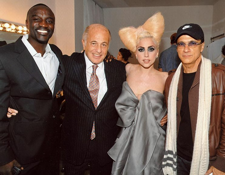 Left to right, Akon, Doug Morris, Lady Gaga, and Jimmy Lovine at the Vevo Launch in New York City, 2009
