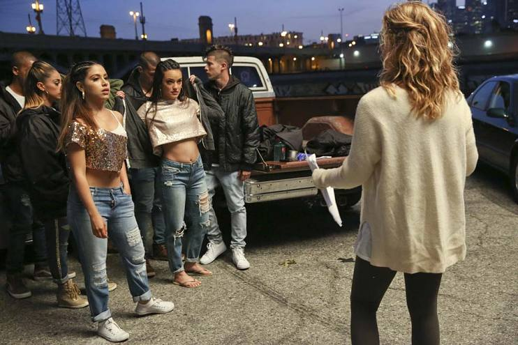 Katie Elmore Mota directs a dance scene of the finale of East Los High season 4