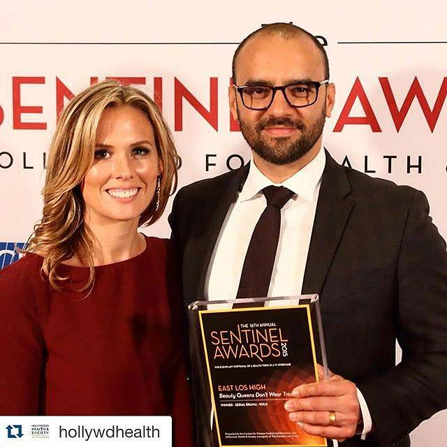 Executive Producers Katie Elmore Mota and Mauricio Mota accept the Sentinel for Health Award for Outstanding Serial Drama on behalf of East Los High and Wise Entertainment