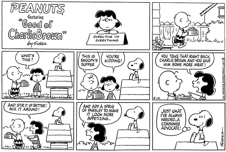 Peanuts comic strip by Charles M. Schulz, 1977