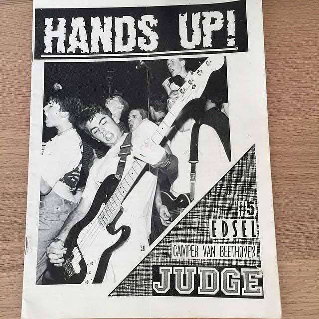Cover of hardcore fanzine Hands Up, circa 1989
