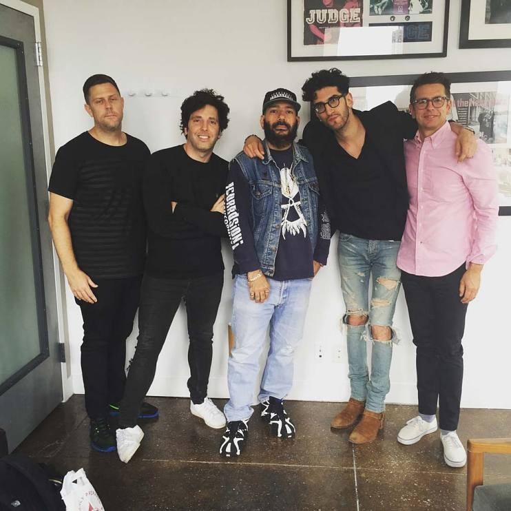 Kevin Kocher, Ron Perry, Patrick Gemayel (Chromeo), David Macklovitch (Chromeo), and Matt Pincus, signing with SONGS, in 2015