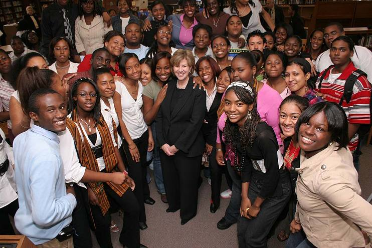 Abbe Raven and students of Humanities & Arts Magnet High School, Queens, New York, during a Principal for a Day event on October 19, 2006