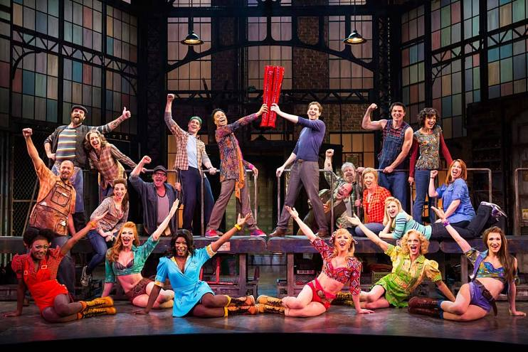 The original Broadway company of Kinky Boots with Billy Porter and Stark Sands at the Al Hirschfeld Theatre