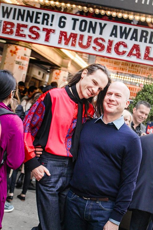 Jordan Roth and husband Richie Jackson celebrate the final performance of Kinky Boots on Broadway on April 7th, 2019.