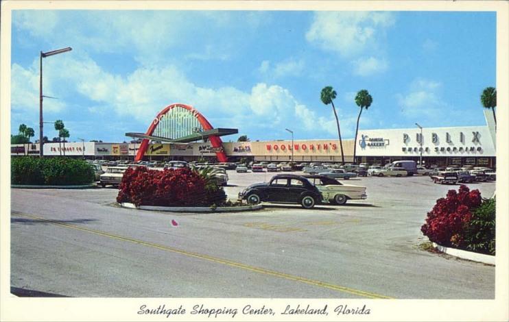 Shopping center postcard, around 1960
