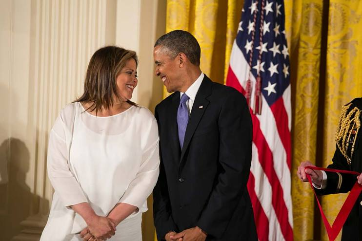 Anna Deavere Smith shares a moment with President Barack Obama in 2013, shortly before he awarded her the National Humanities Medal