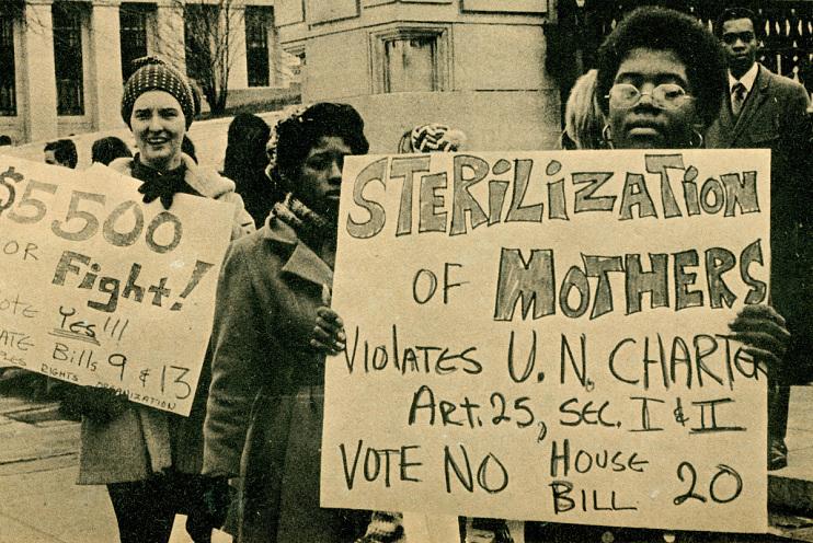 Mothers protesting sterilization, 1971