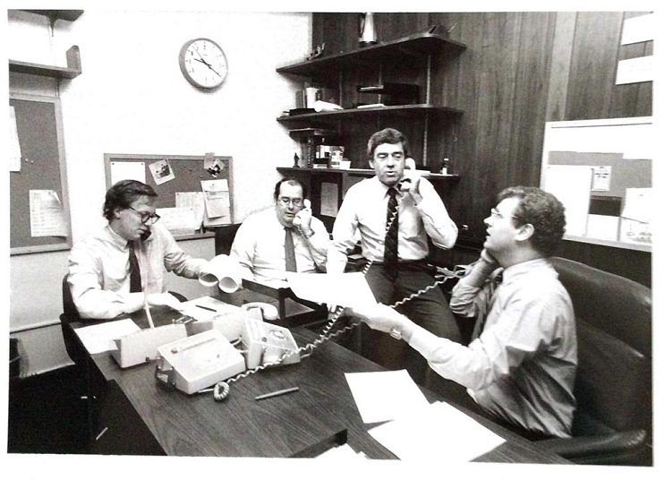 The Fishbowl at CBS News with (left to right) Mark Harrington, Lane Venardos, and Dan Rather