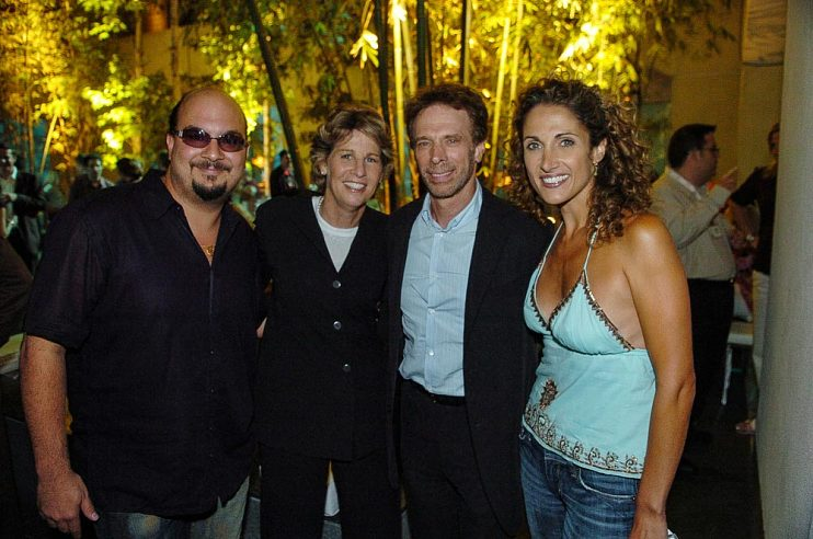Left to right, Anthony E. Zuiker, Nancy Tellem, Jerry Bruckheimer, and Melina Kanakaredes at the CBS Summer 2005 Press Tour party, July 19, 2005