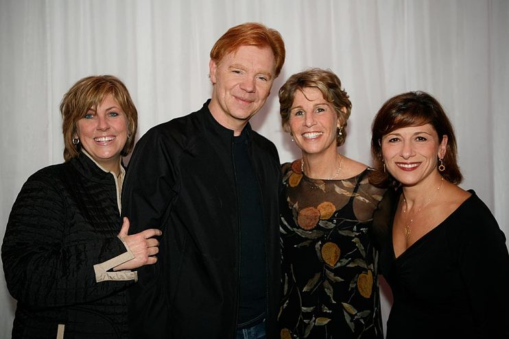 Left to right, Ann Donahue, David Caruso, Nancy Tellem, and Nina Tassler at the CSI Miami 100th Episode beach party