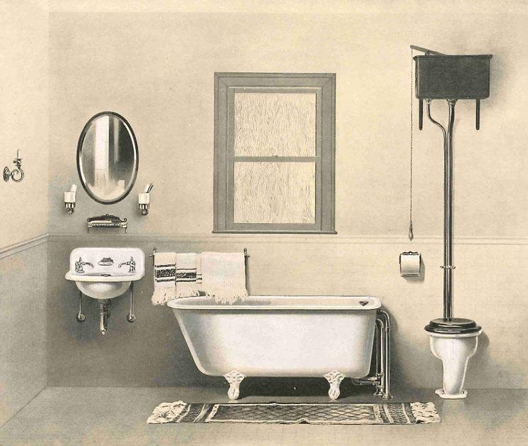 An ideal bathroom, 1890s-1910s