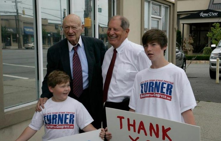 Bob Turner and grandsons with Ed Koch, 2011