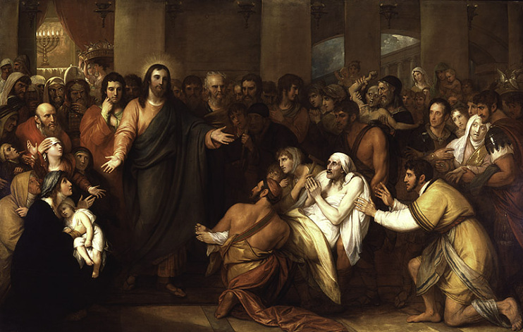 Christ Healing the Sick in the Temple, Benjamin West, 1817, reproduction