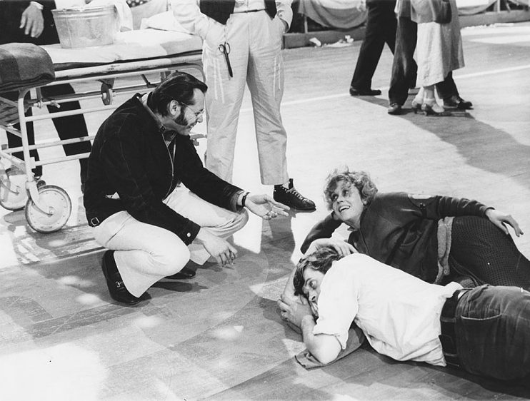 Irwin Winkler (left), Jane Fonda, and Michael Sarrazin on the set of They Shoot Horses, Don't They? (1969)