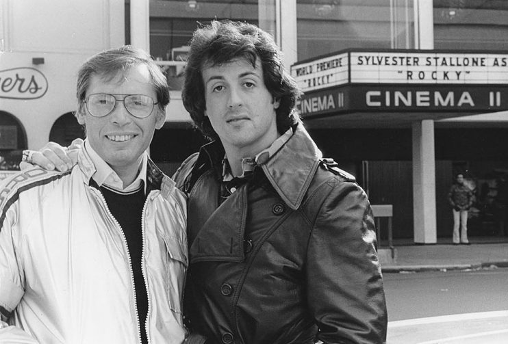 Irwin Winkler and Sylvester Stallone on opening day of Rocky (1976)
