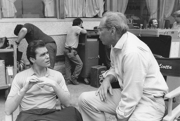 Ray Liotta and Irwin Winkler on the set of Goodfellas (1990)